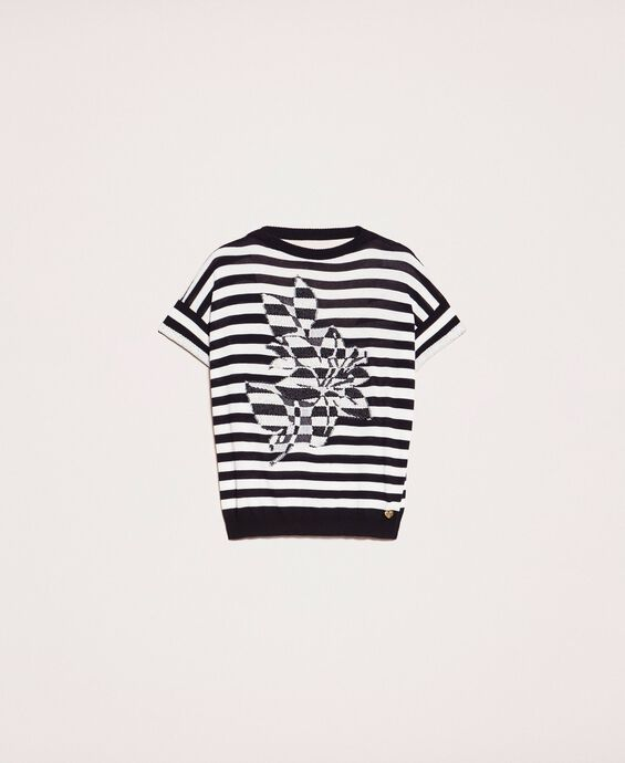 Two-tone striped jumper with flower