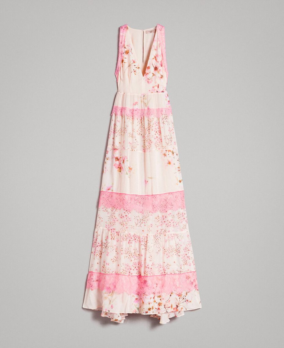 "Floral georgette long dress ""Blossom / Peach Mix"" Pink Print Woman 191TP2713-0S"