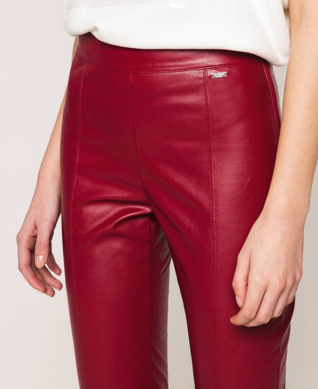 Faux leather leggings with stitches Purple Woman 201ST2113-04