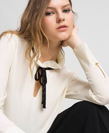 Crêpe de Chine blouse with flounce Vanilla White Woman 192MP2160-02