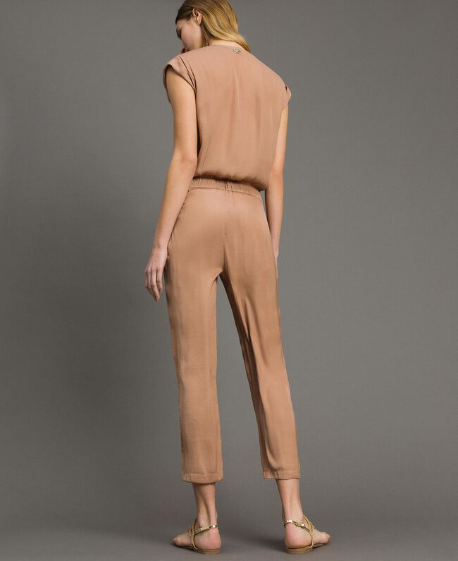 """Long jumpsuit with elasticated waistband """"Petra Sandstone"""" Brown Woman 191LM2GDD-03"""