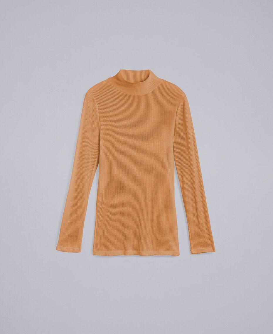 Pull à col montant en lyocell côtelé Marron «Amber Dust» Femme IA88AA-0S
