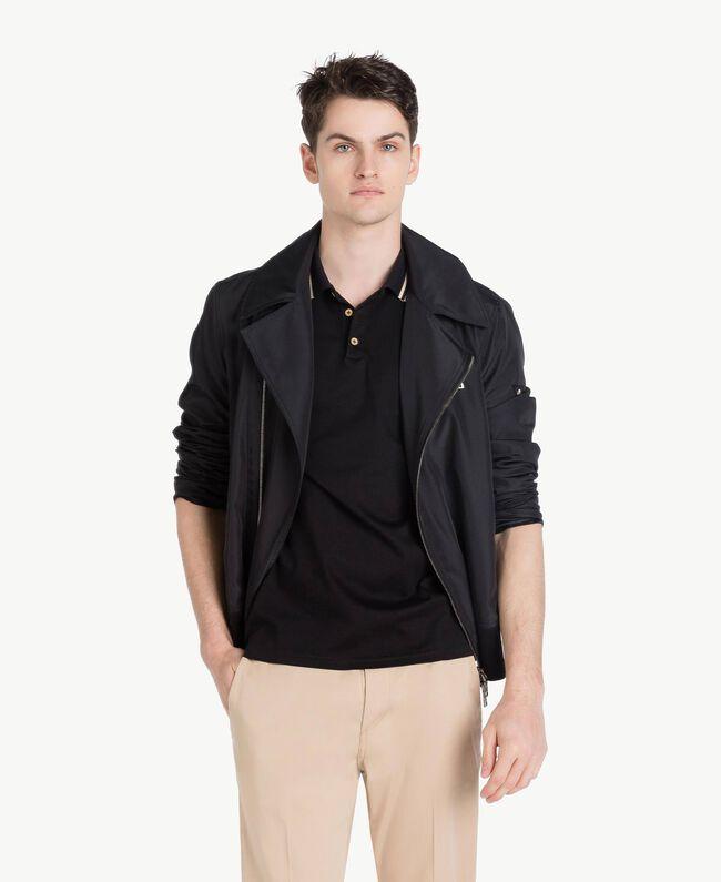 Technical fabric biker jacket Black Man US8232-01