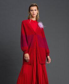 Maxi cardigan avec bande en lurex et broche Rayé Rouge «Samba» / Violet Femme 192ST3081-02