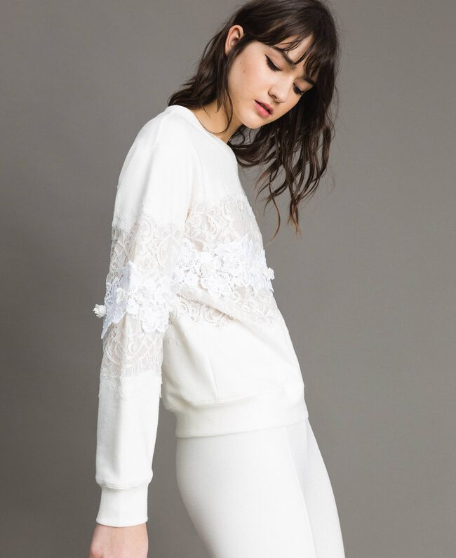 Lace and macramè sweatshirt Milk White Woman 191TP2592-03