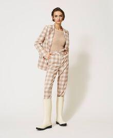 Pantalon cigarette en tissu à carreaux Prince-de-Galles Carreaux Blanc Crème / Beige «Dune» Femme 202MP228B-03