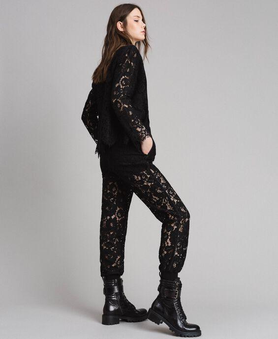 Macramé lace jogging trousers