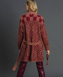 """Jacquard mohair and wool maxi cardigan """"Sequoia"""" Beige Jacquard / Red Earth Woman 192ST3130-05"""