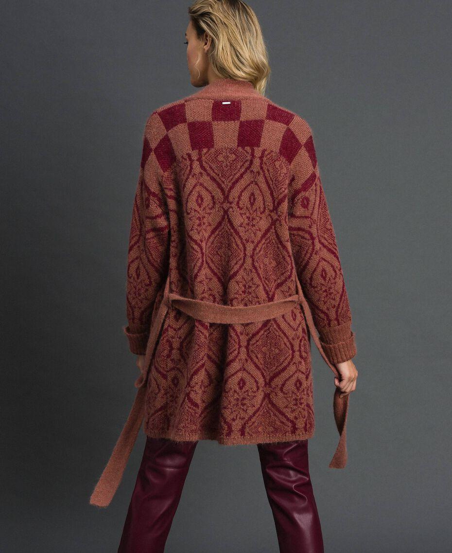 Maxi cardigan en laine et mohair jacquard Jacquard Beige «Séquoia» / Terre Battue Femme 192ST3130-05