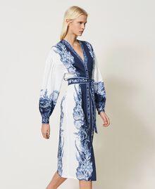 "Poplin shirt dress with print ""Patch Porcelain Blue And White"" Blue Woman 211TT2195-03"