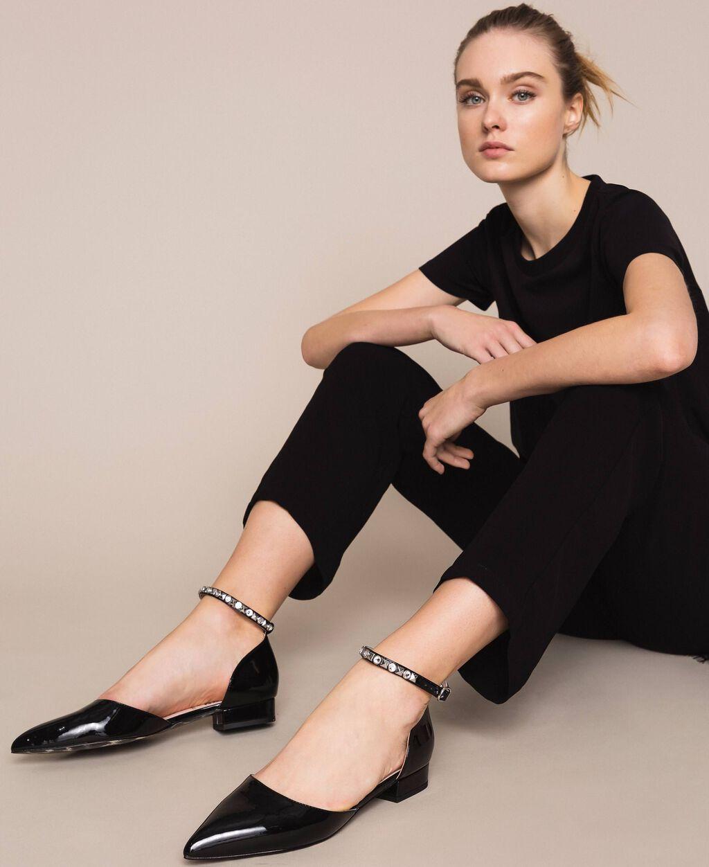 Patent leather ballerina pumps with rhinestones