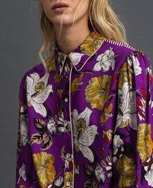 Chemise longue avec imprimé floral Imprimé Fleurs d'Automne Violet Femme 192ST2223-01