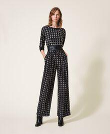 "Printed crêpe de Chine palazzo trousers Black /""Nude"" Beige Optical Print Woman 202ST2508-0T"
