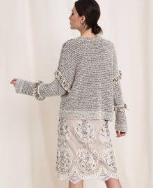 Пуловер из фасонной крученой пряжи с люрексом Разноцветный Слоновая кость / Черный женщина 201TP3162-04