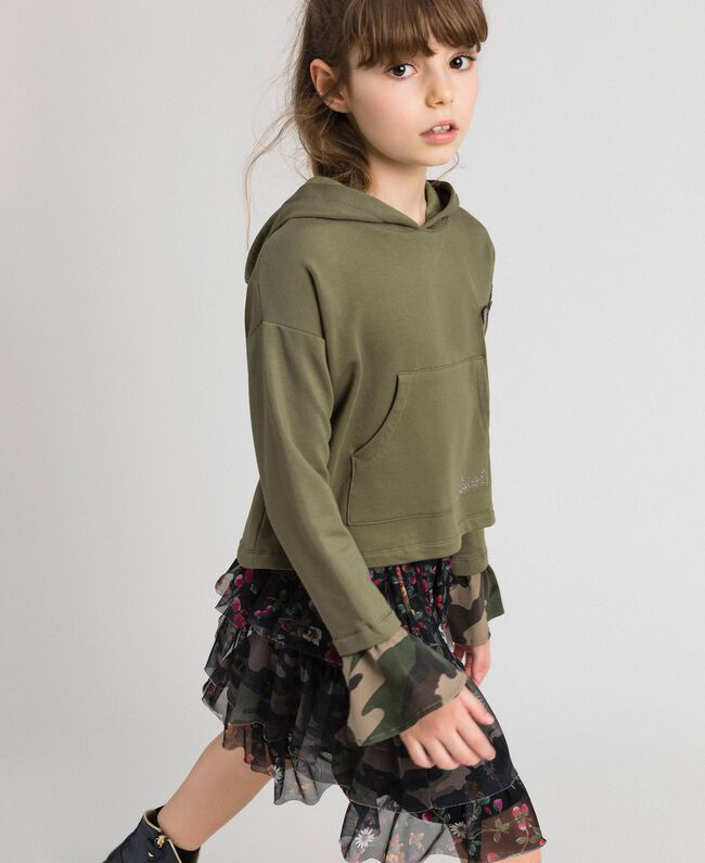 """Butterfly patch hoodie """"Alpine"""" Green / Camouflage Print Child 192GJ2560-03"""