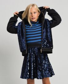 Bomber in velluto con paillettes Blue Night Bambina 192GJ2090-04