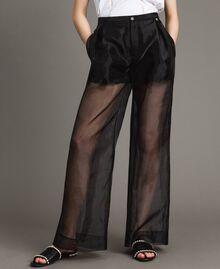Pantalon palazzo en organza Noir Femme 191MT2132-04