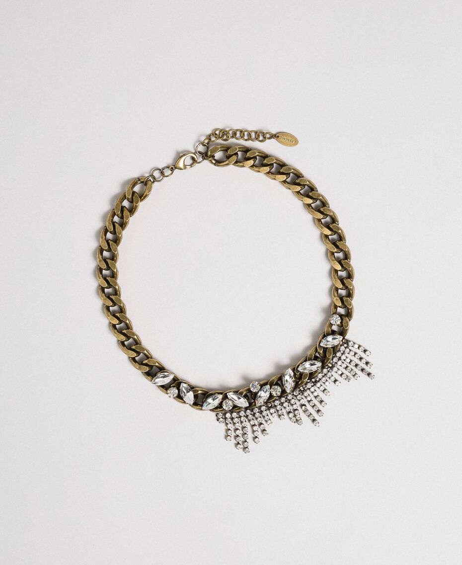 Gargantilla de cadena con engastes y strass Cristal Mujer 192TA4367-01