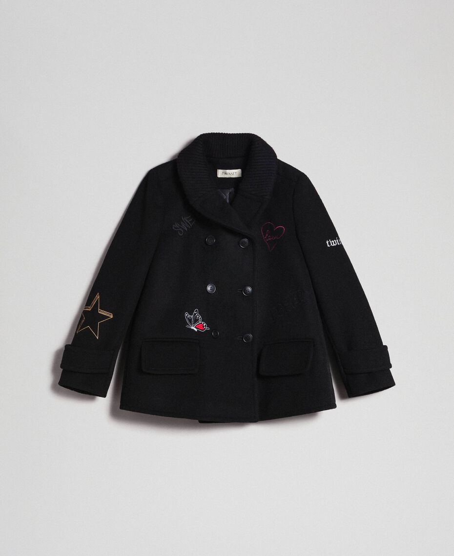 Cappotto in panno con ricami Nero Bambina 192GJ2102-0S