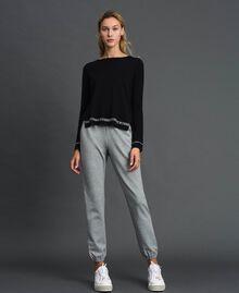 Pullover aus Seide und Kaschmir mit Logos Schwarz Frau 192TP3151-0T