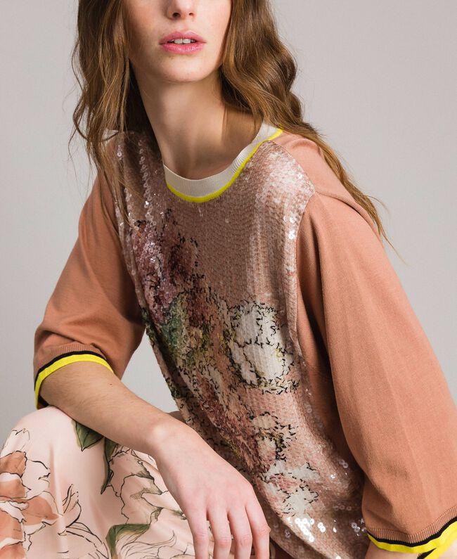 "Sequin jumper with contrasting trims Multicolour ""Desert Rose"" Beige / ""Shell"" Beige Flowers Print Woman 191MT3110-04"