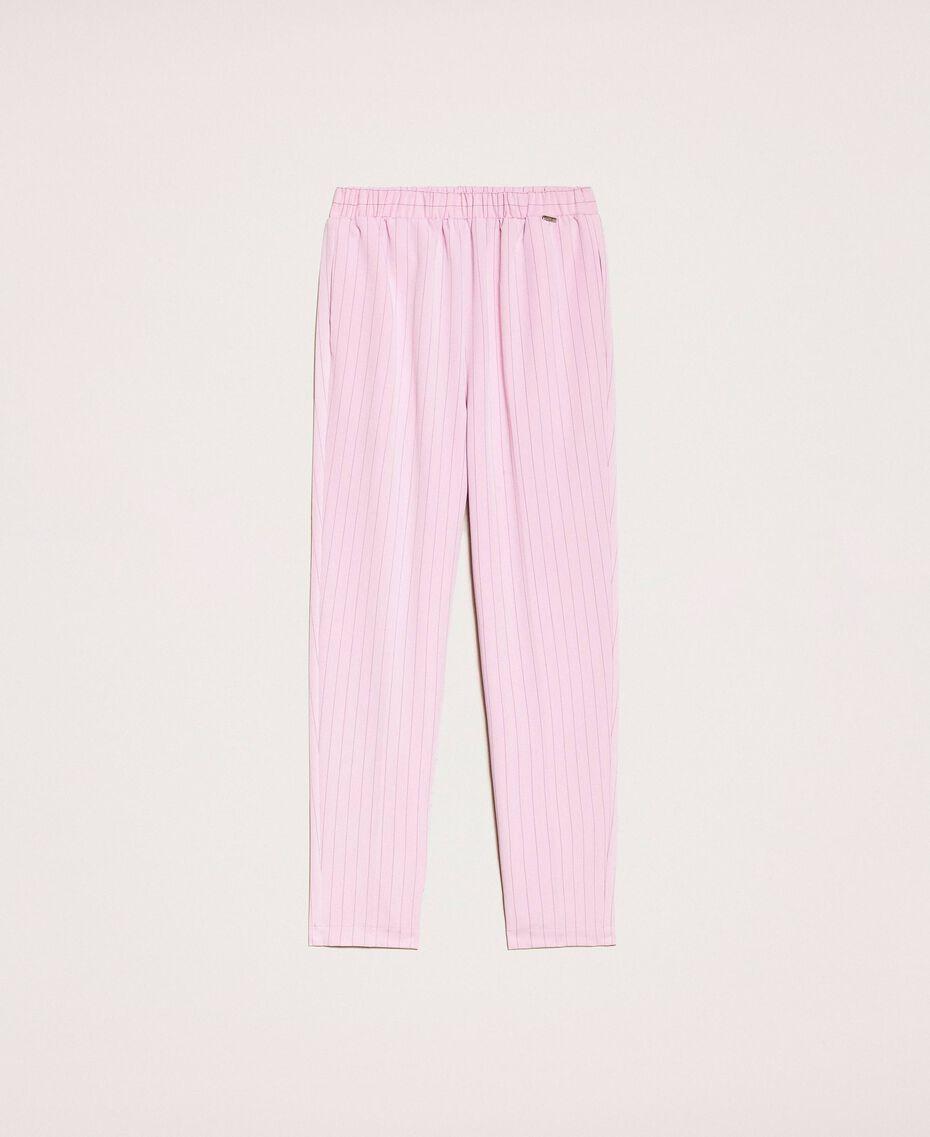 """Pin stripe cigarette trousers """"Candy"""" Pink Pin Stripe Jacquard Woman 201ST2081-0S"""