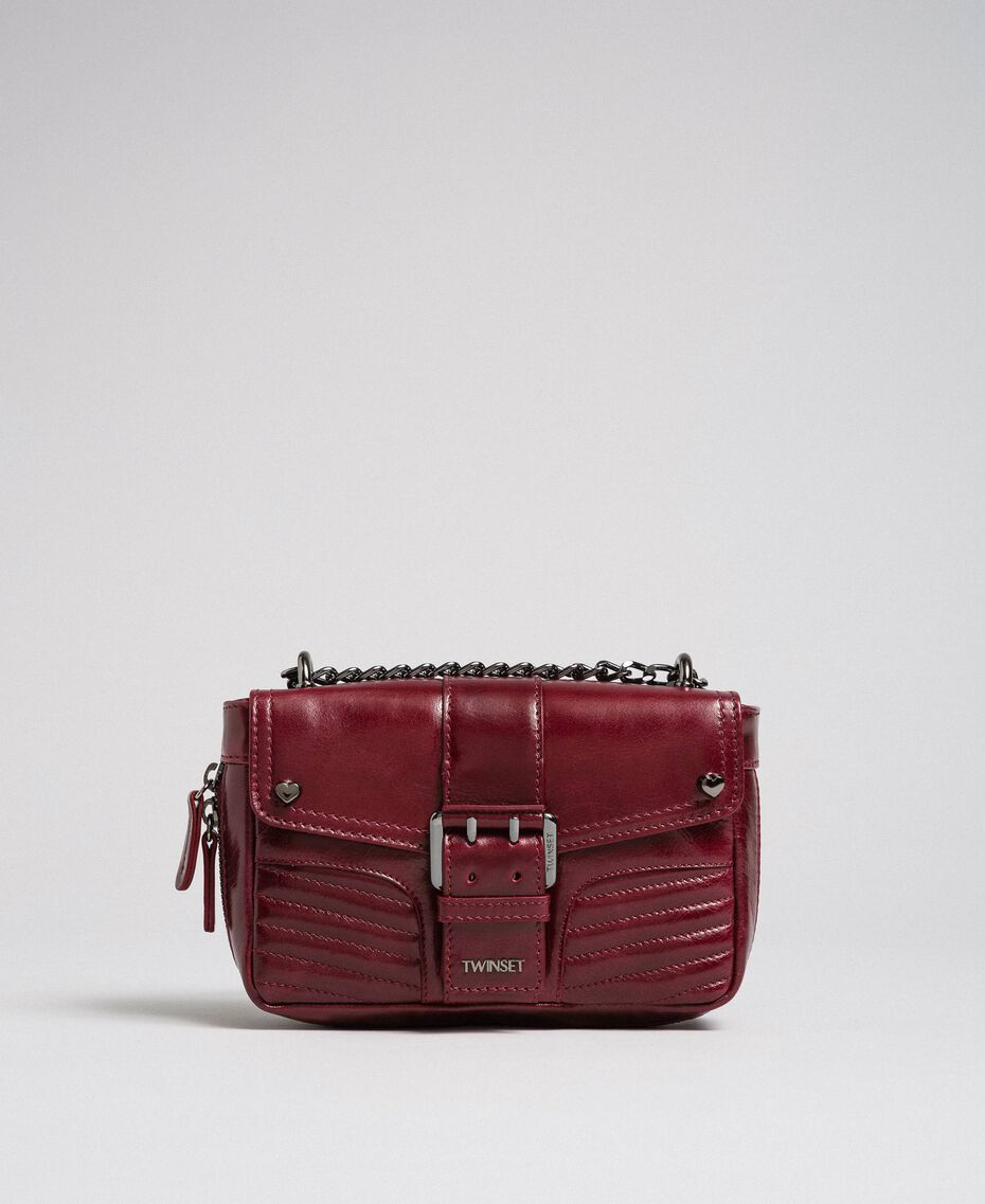 Small Rebel leather shoulder bag Beet Red Woman 192TA7237-02