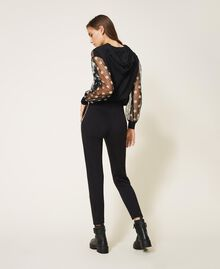 Trousers with pearl embroidery Black Woman 202TT2T52-04