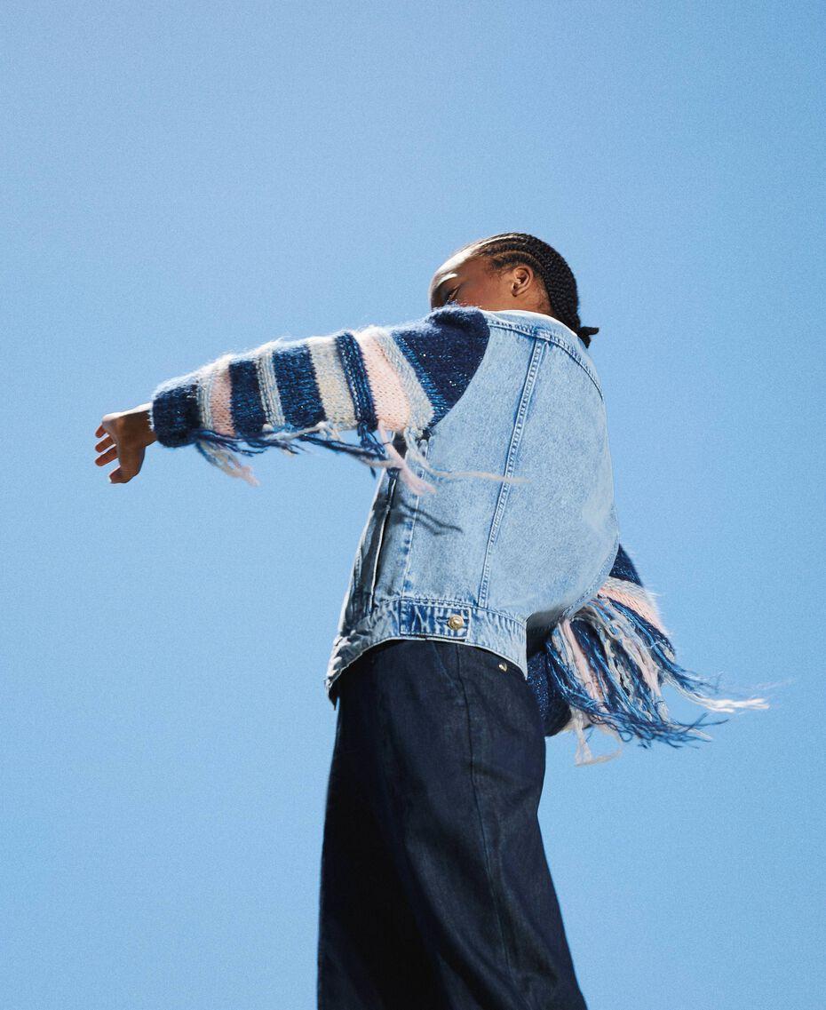 Blouson en jean avec franges Denim Clair Femme 202MP2463-02