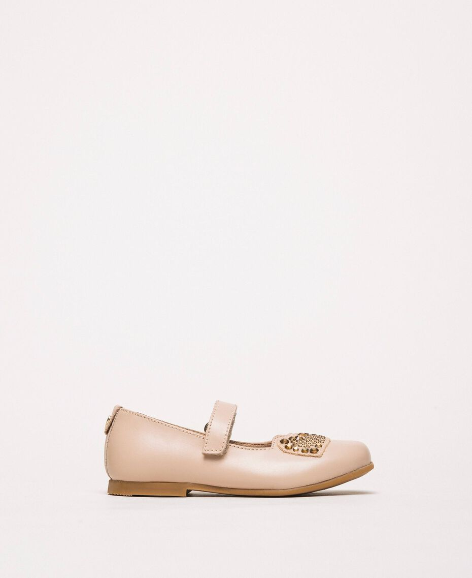 Ballerina aus Leder mit Herz Blütenknospenrosa Kind 201GCB048-01