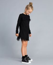 Jersey dress with feathers Black Child GA827A-02