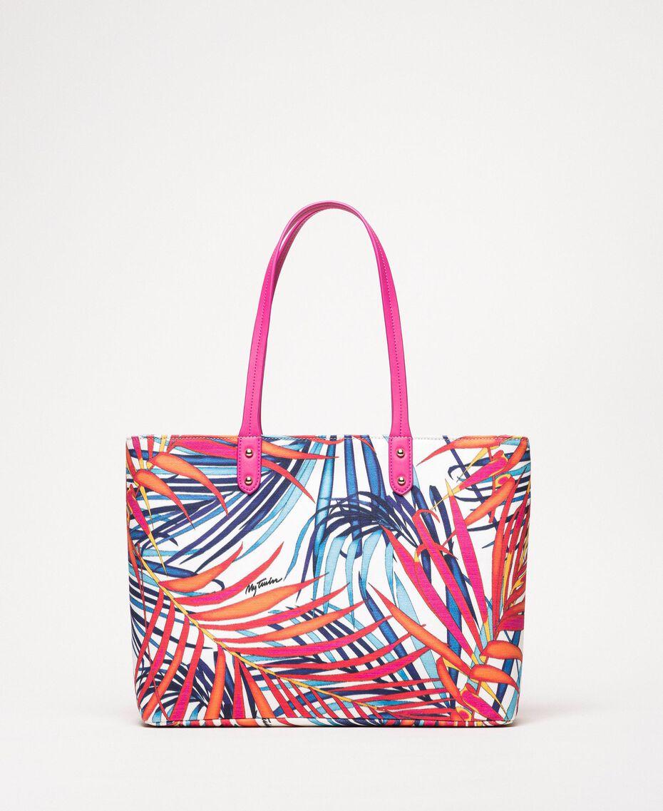 "Shopper aus bedrucktem Canvas Print Ferns ""Ice""-Weiß Frau 201MO8130-01"