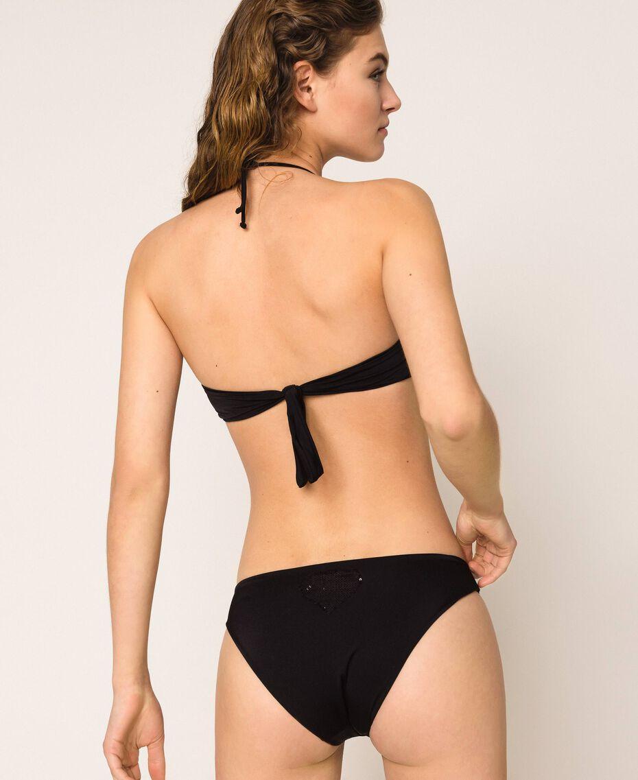 Bandeau bikini top with sequins Flirty Rose Print Woman 201LBMC11-03