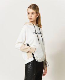 Sudadera con cordón de ajuste y logotipo Bicolor Blanco «Marfil» / Rosa «Frapé» Mujer 211LL2LGG-04