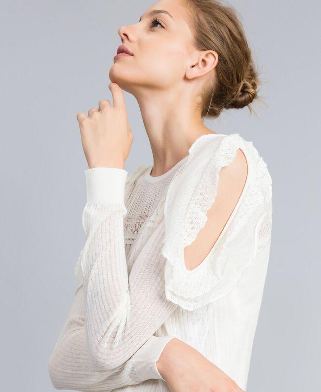 Pullover aus Wollmischung mit Mustermix Weiß Schnee Frau PA83C3-04