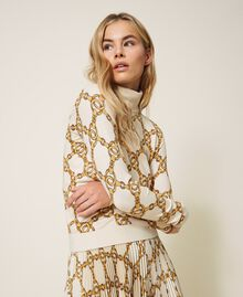 Turtleneck with chain print Ivory / Gold Large Chain Print Woman 202TT3340-05