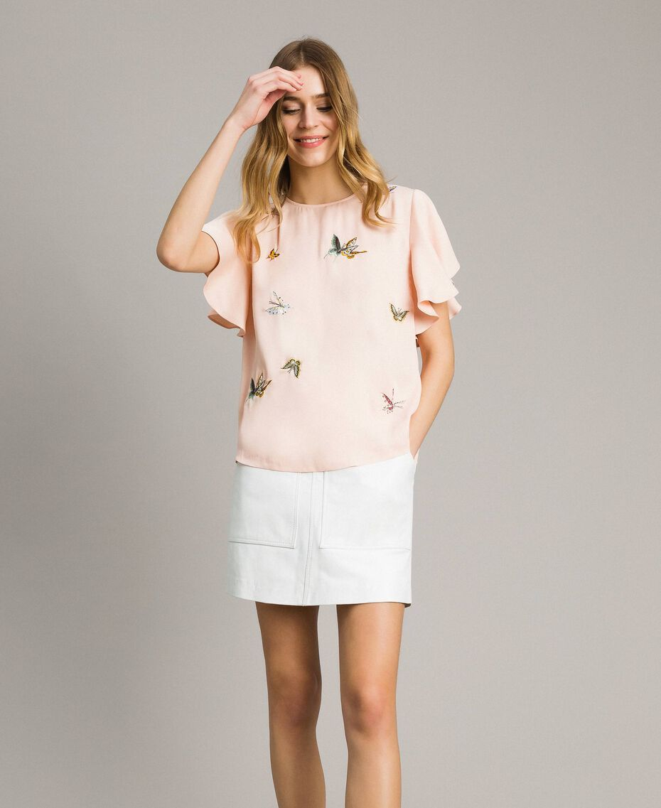"Блуза из атласа с вышивкой бабочками ""Rose Sand"" Розовый женщина 191TT2115-01"
