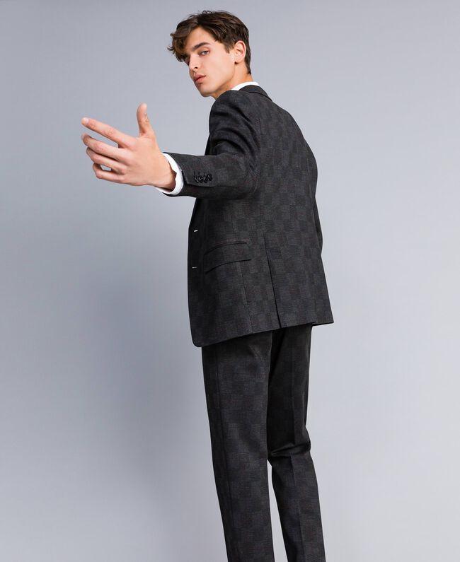 Completo giacca e pantalone stampato Stampa Quadri Grigio Melange Uomo UA82BN-04