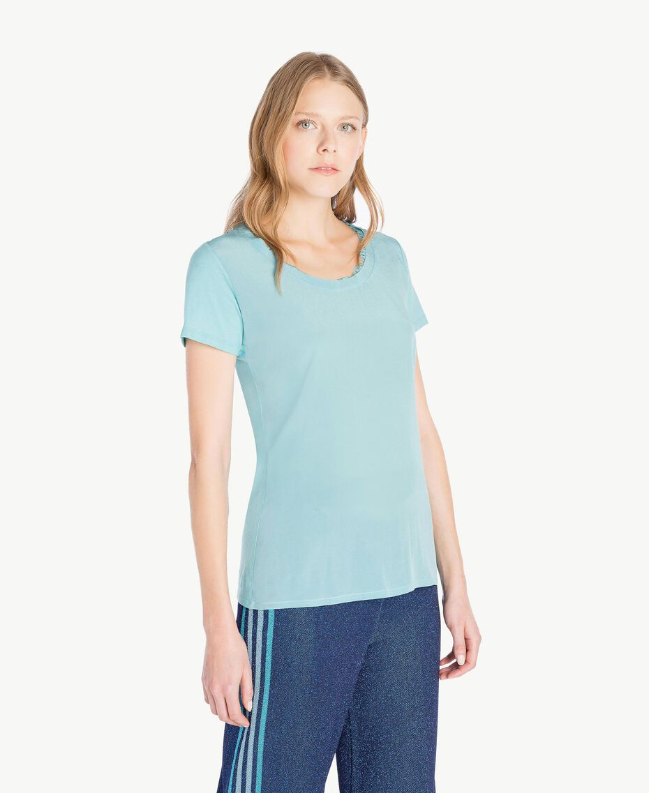 Silk T-shirt Sky Blue Woman PS82HB-02