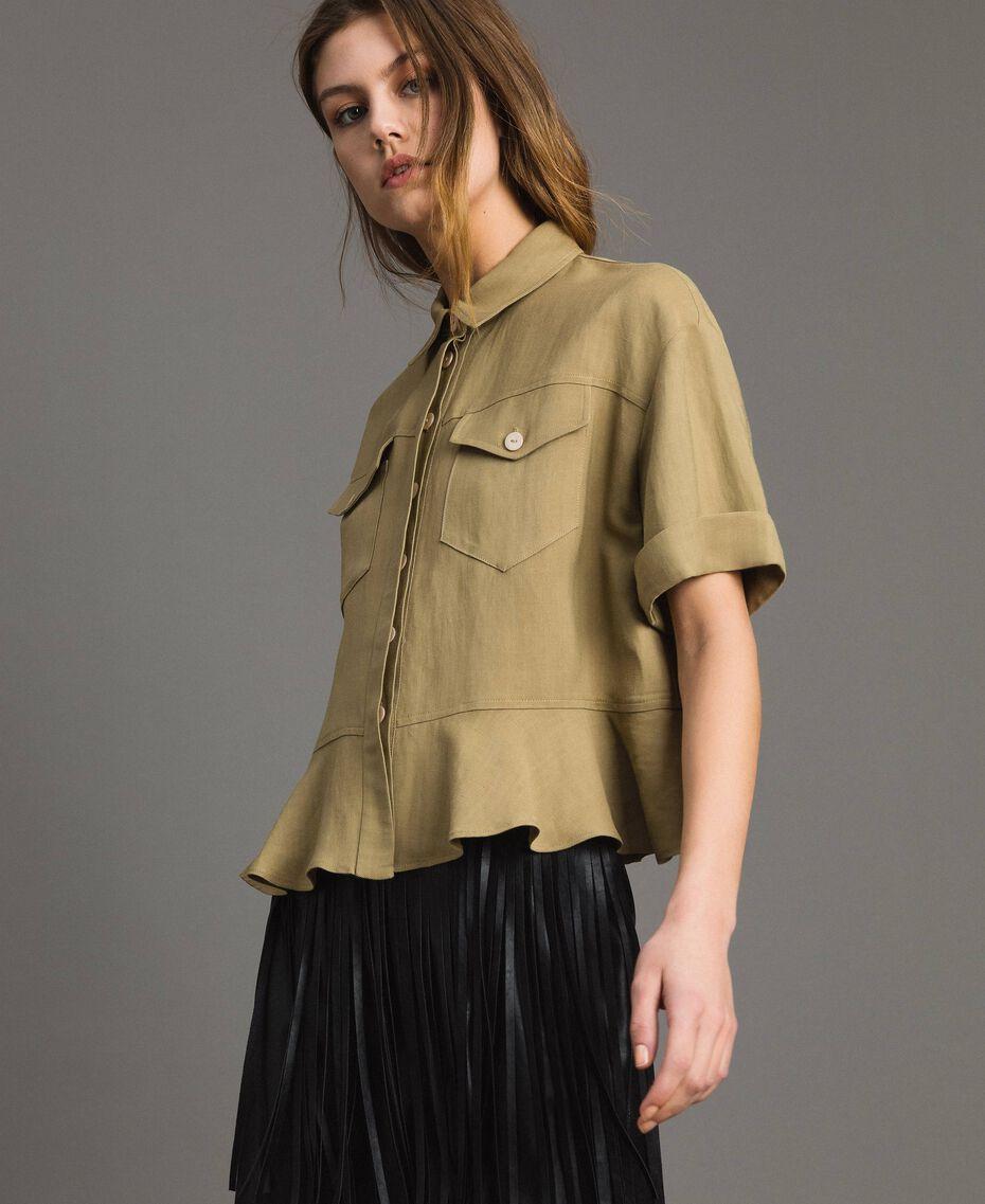 Рубашка из натуральной парусины с оборкой Антикварный Бронзовый женщина 191TT2441-02