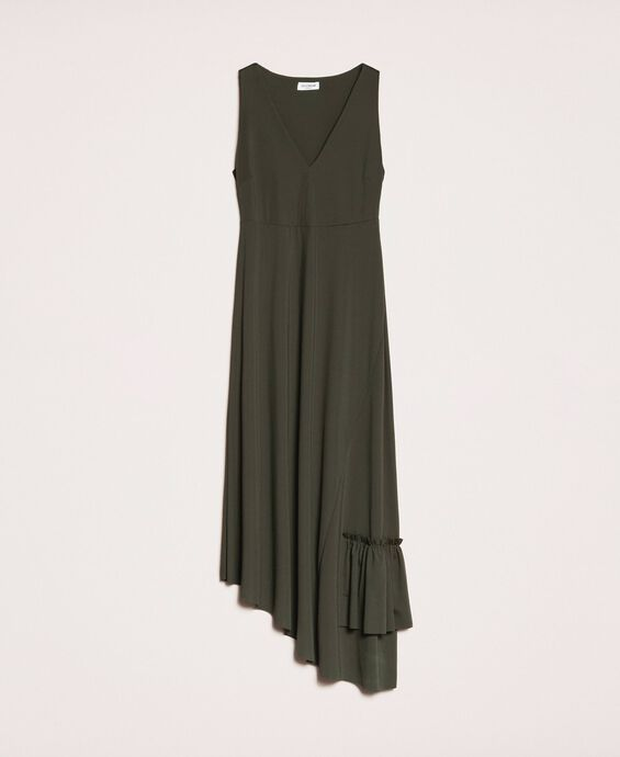Long asymmetric dress with flounce