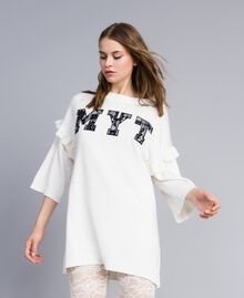Maxi jumper with embroidered logo and lace Bicolour Mother-of-pearl White / Black Woman JA83FC-01