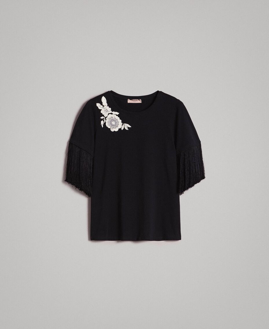 Embroidery and fringe T-shirt Black Woman 191TT2131-0S