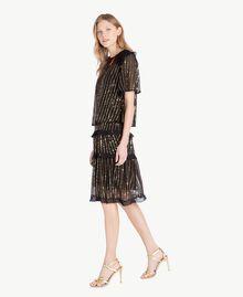 Kleid und Bluse mit Pailletten Schwarz Frau TS82WP-02