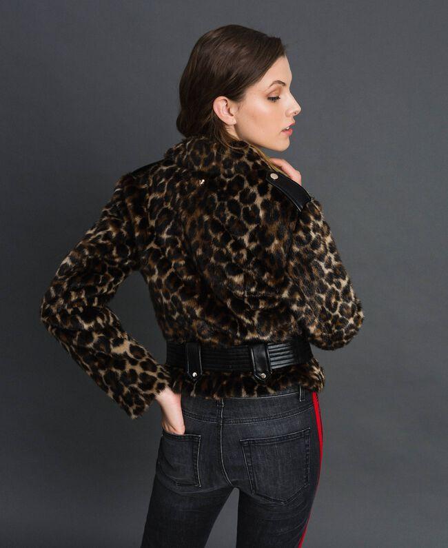 Faux fur animal print biker jacket Animal print Woman 192MP2040-03