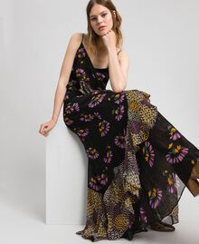 Slip dress with floral print Black Mixed Flowers Print Woman 192TT2144-01
