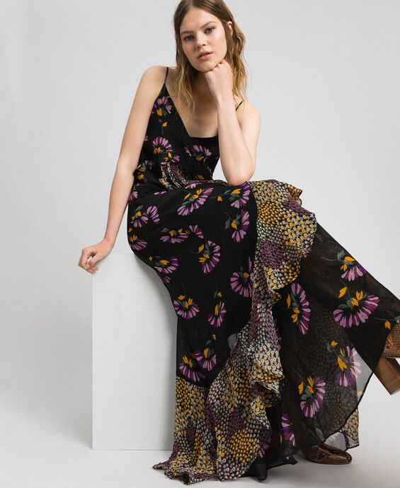 Slip dress with floral print