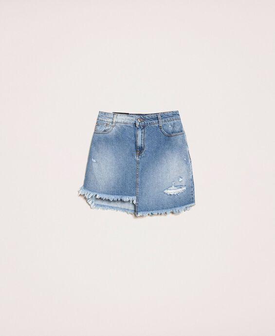 Asymmetric denim skirt