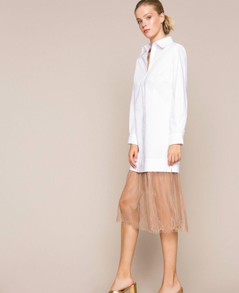 Платье-рубашка из поплина и кружева Двухцветный Белый Оптический / Светло-коричневый женщина 201ST2028-02