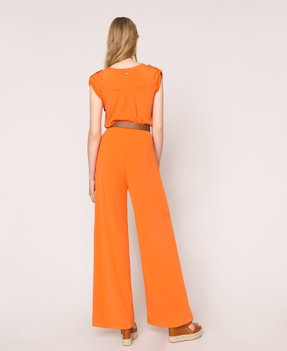 "Jumpsuit with pockets and belt ""Calendula"" Orange Woman 201MT2153-03"